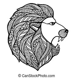 Head roaring lion style zentangle. Vector illustration.