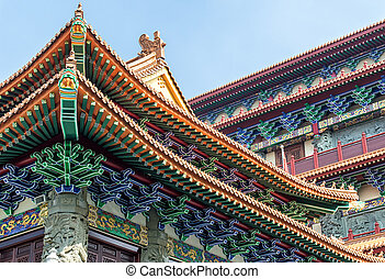 Po Lin Monastery Detail - Gilded red wooden roofs in...