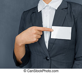 Nametag on the chest, copyspace - Unrecognizable...