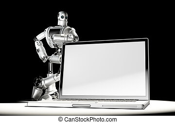 Robot with blank screen laptop. Image containc lipping path of laptop screen and entire scene