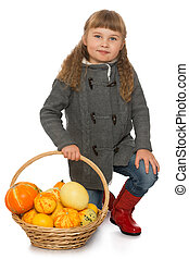 Little girl with basket - Beautiful little girl blonde hair...