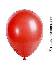rojo, globo, aislado, blanco