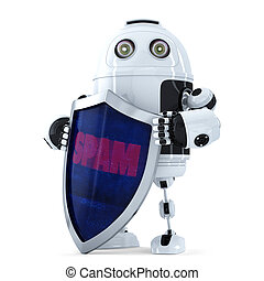 Robot with the shield. Spam protection concept. Isolated. Contains clipping path