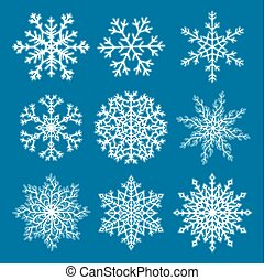 Set of white paper snowflakes