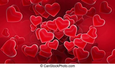 Flying hearts in red