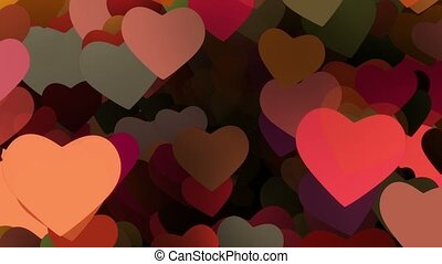 Flying hearts in various colors