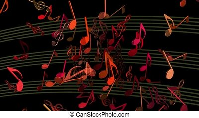 Abstract flying musical Notes in various colors