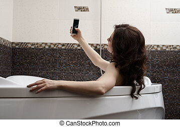 Brunette doing her sexy photo while taking bath - Pretty...