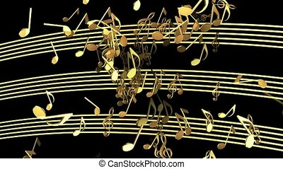 Abstract flying musical Notes in golden color