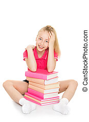 The girl tired to read
