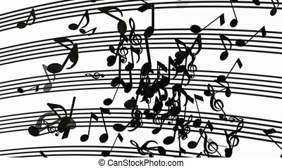 Abstract flying musical Notes in black on white