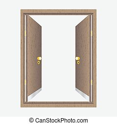 Wood open door with frame. Isolated on background