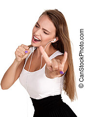 oung Woman Listening Music Dancing - Beautiful Attractive...