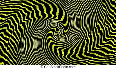 Abstract rotating lines in spiral in yellow