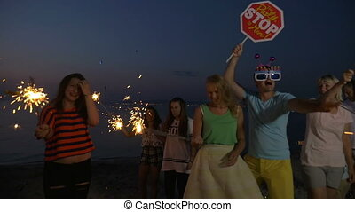Beach party to celebrate Christmas or New Year - Slow motion...