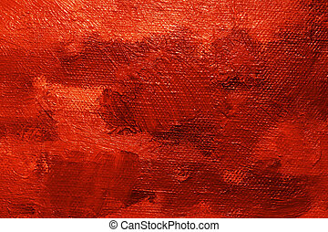 Red oil paint background - Close-up of a oil painted canvas...