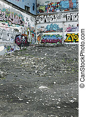 Graffiti walls - Scene from the ghetto - abandoned houses...