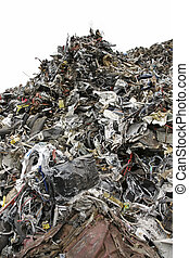 Landfill isolated on white - Massive pile of garbage...
