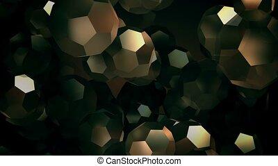 Flying golden balls on black