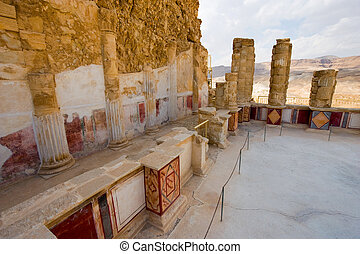 Masada in Israel - Pilasters and columns, plastered and...