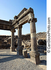 The synagogue of Korazim - Remains of the synagogue in the...