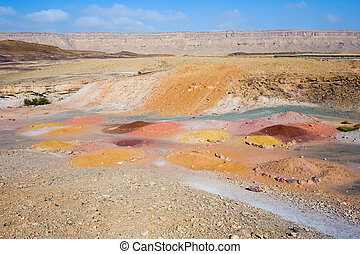 Makhtesh ramon - Colored sand in the Makhtesh ramon crater...