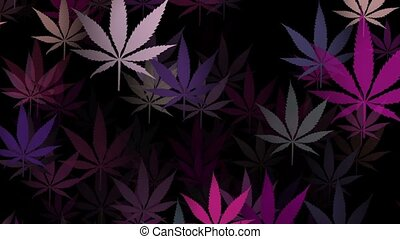 Flying cannabis signs in warious colors on black