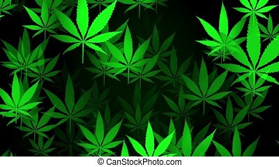 Flying cannabis signs in green color on black