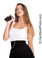 Young Woman Listening Music Dancing - Beautiful Attractive...