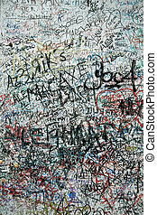 Graffiti wall - Lovers wall in verona Italy, Large wall of...