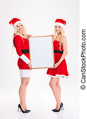 Two attractive sisters twins standing and holding blank...
