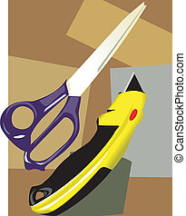 scissor with paper cutter in pattern background
