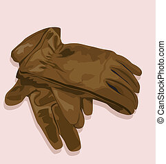 gloves - Illustration of a pair of gloves made of leather
