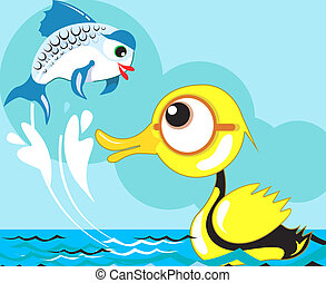 Duck and fish  - A duck is swimming in a pond and a fish