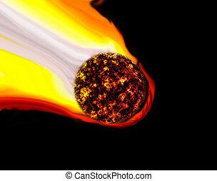 Meteor Shooting Star or Commet Background - Meteor Shoowing...