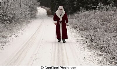 Santa Claus in the woods on snowy