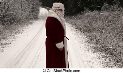 Santa Claus walking away in the woods on snowy road
