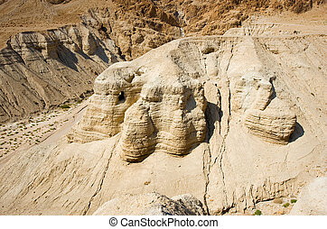 Scrolls cave of Qumran - The scrolls cave of Qumran in...