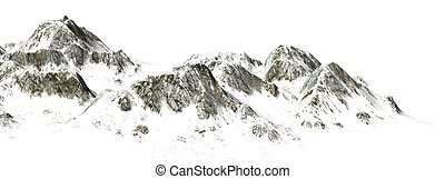 Snowy Mountains - Mountain Peak - separated on white white...