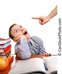 Lazy Kid doing Homework - Parent threatening a Lazy Son for...