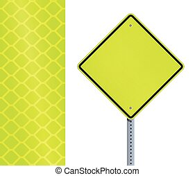 Yellow fluorescent road sign - vector illustration of empty...