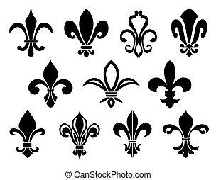 Set of Fleurs-de-lis icons. Vector illustration.