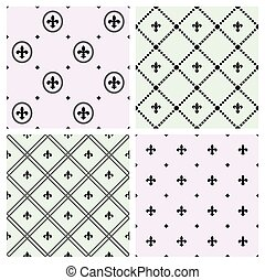 Set of seamless patterns with Fleurs-de-lis icons. Vector...