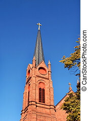Apostle Church Steeple - Cross topped steeple of the St Paul...