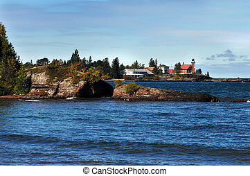 Red Light Lighthouse - Eagle Harbor Lighthouse stands guard...