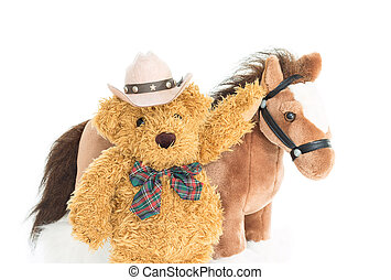 Cowboy Teddy bear and horses on white background