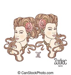 Zodiac. Vector illustration of Gemini as girl with flowers. Isolated on white background.