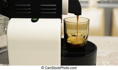 Making coffee in capsule coffee machine - Making coffee in...