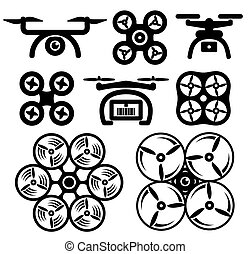 Set of drone icons Vector illustration