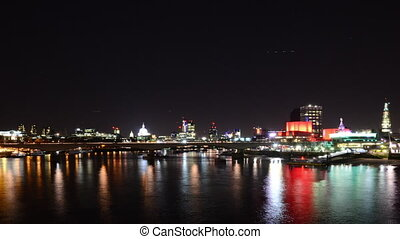 Time Lapse of River Thames at night, London